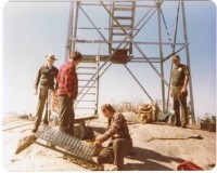 Closing the Tower in November 1979 are David Ames, John Maye, Doug Richards, and Bill Sussdorf. The last observer to man the tower, Doug Richards.