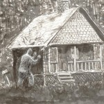 The McCoy family said that one night a huge creature came to the Hurricane Mountain observer's cabin and violently shook the building. Illustrated by Sam Glanzman