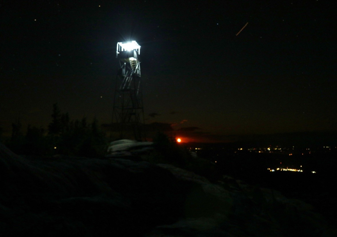 Fire Tower Lit Up